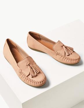 Kadın Pembe Püskül Detaylı Süet Loafer Ayakkabı