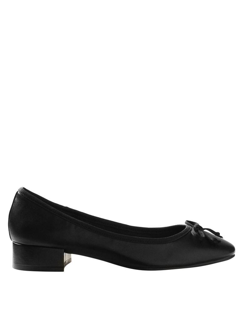 Kadın Siyah Yuvarlak Burunlu Deri Babet Ayakkabı