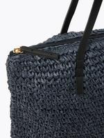 Kadın Lacivert Hasır Shopper Çanta