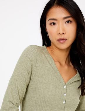 Kadın Yeşil Uzun Kollu Dokulu T-Shirt