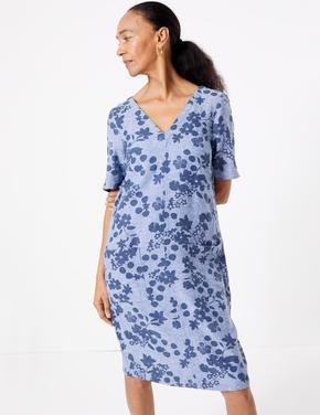 Kadın Mavi Çiçek Desenli Shift Elbise