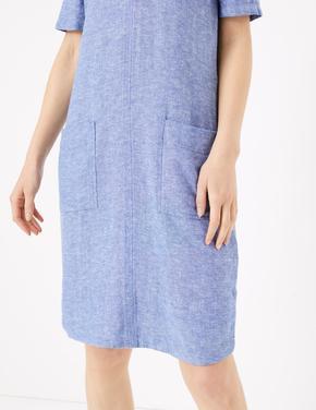Kadın Mavi Cep Detaylı Shift Elbise