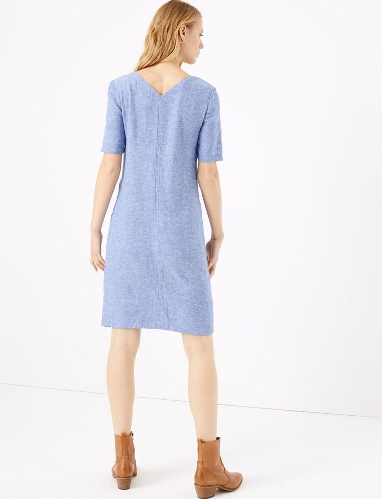 Kadın Mavi Kısa Kollu Keten Elbise