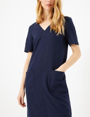 Kadın Lacivert Cep Detaylı Shift Elbise
