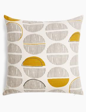 Sarı Yuvarlak Desenli Dekoratif Yastık
