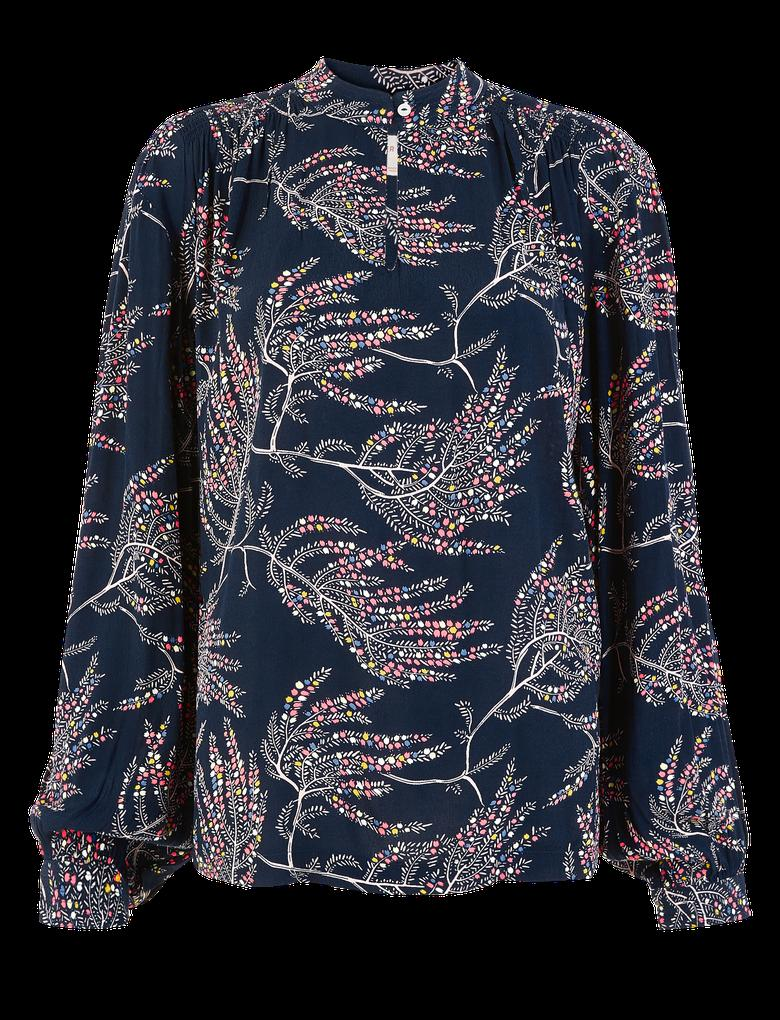 Kadın Lacivert Desenli Popever Bluz