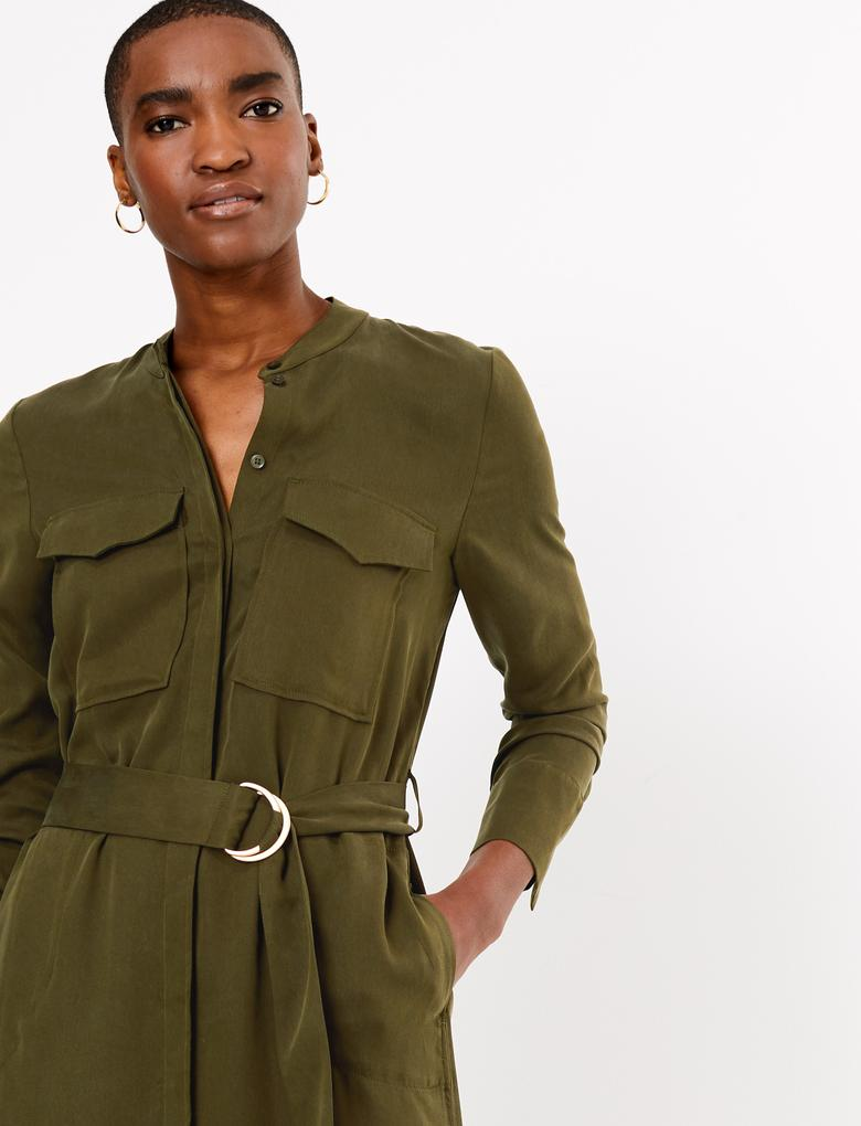 Yeşil Utility Relaxed Midi Elbise