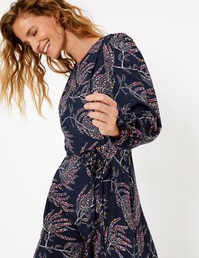 Lacivert Fırfır Detaylı Desenli Midi Elbise