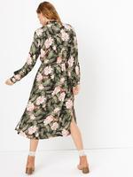 Yeşil Çiçek Desenli Midi Gömlek Elbise