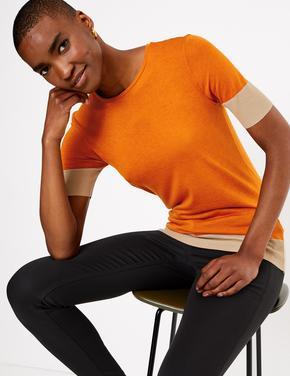 Kahverengi Kısa Kollu Renk Bloklu T-Shirt