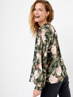 Yeşil Çiçek Desenli Relaxed Fit Bluz