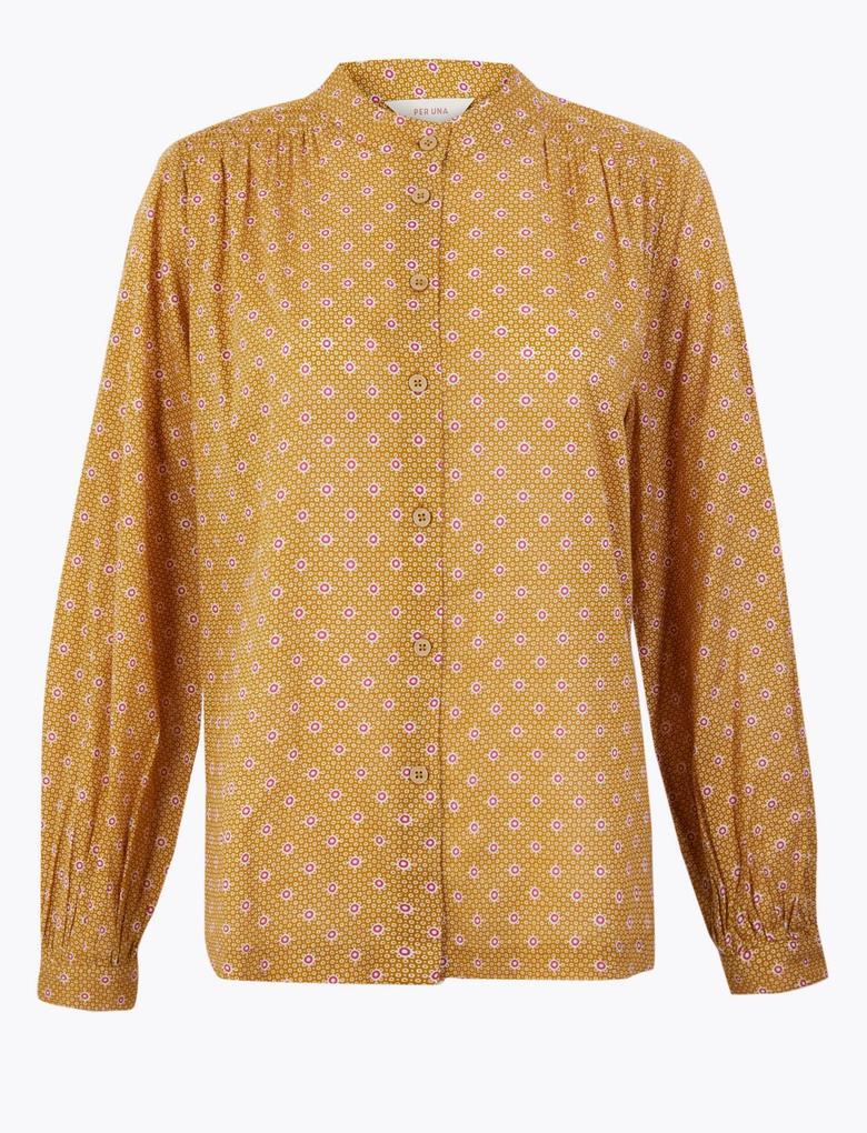 Sarı Desenli Uzun Kollu Gömlek