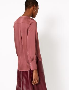 Kırmızı Saten Bluz