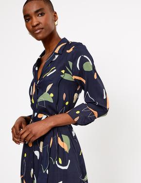 Lacivert Desenli Midi Gömlek Elbise