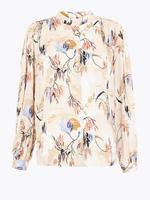 Krem Uzun Kollu Desenli Bluz