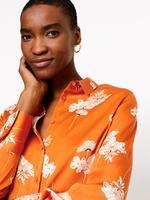 Turuncu Çiçek Desenli Saten Bluz