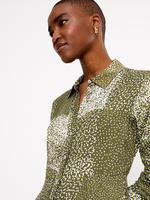Kadın Yeşil Desenli Midi Gömlek Elbise