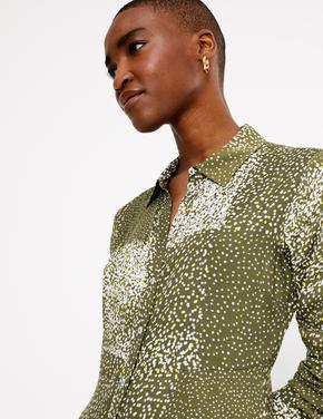 Yeşil Desenli Midi Gömlek Elbise