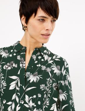 Kadın Yeşil Çiçek Desenli Midi Gömlek Elbise