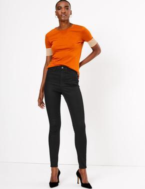 Siyah StayNEW™ Yüksek Belli Skinny Jean Pantolon