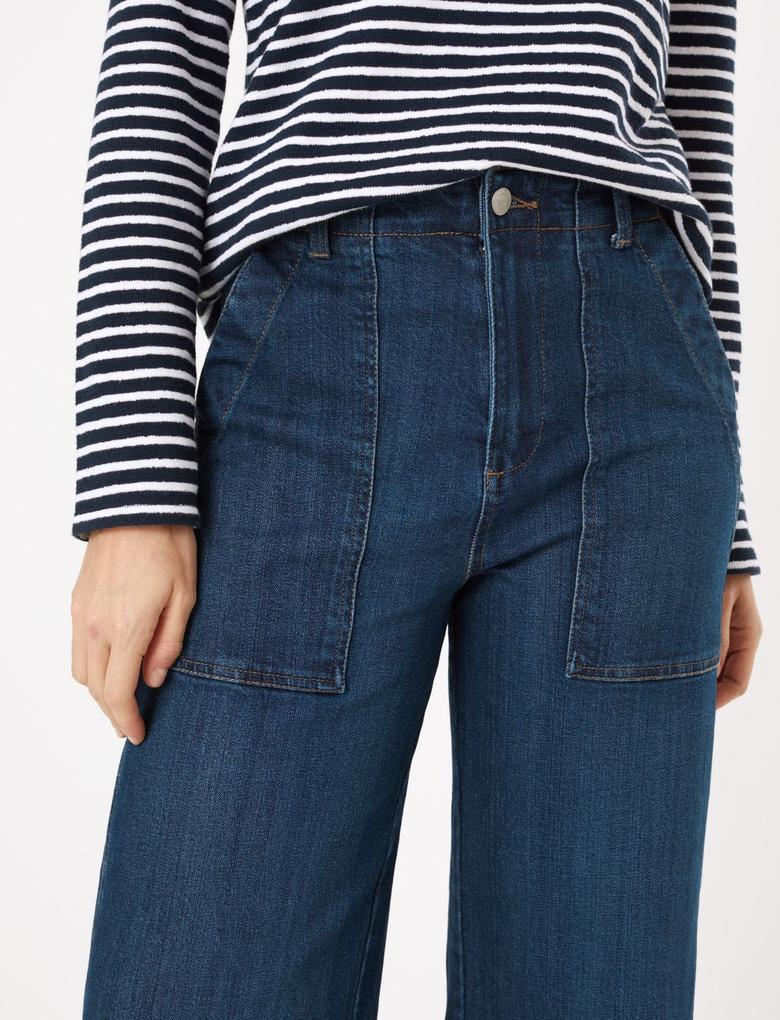 Kadın Lacivert Utility Wide Leg Crop Jean Pantolon