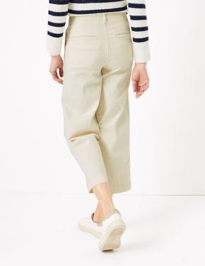 Kadın Krem Wide Leg Crop Jean Pantolon