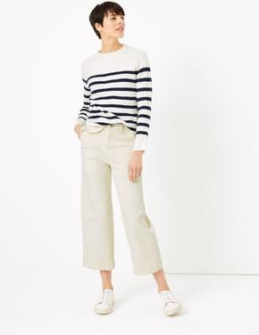 Krem Wide Leg Cropped Jean Pantolon