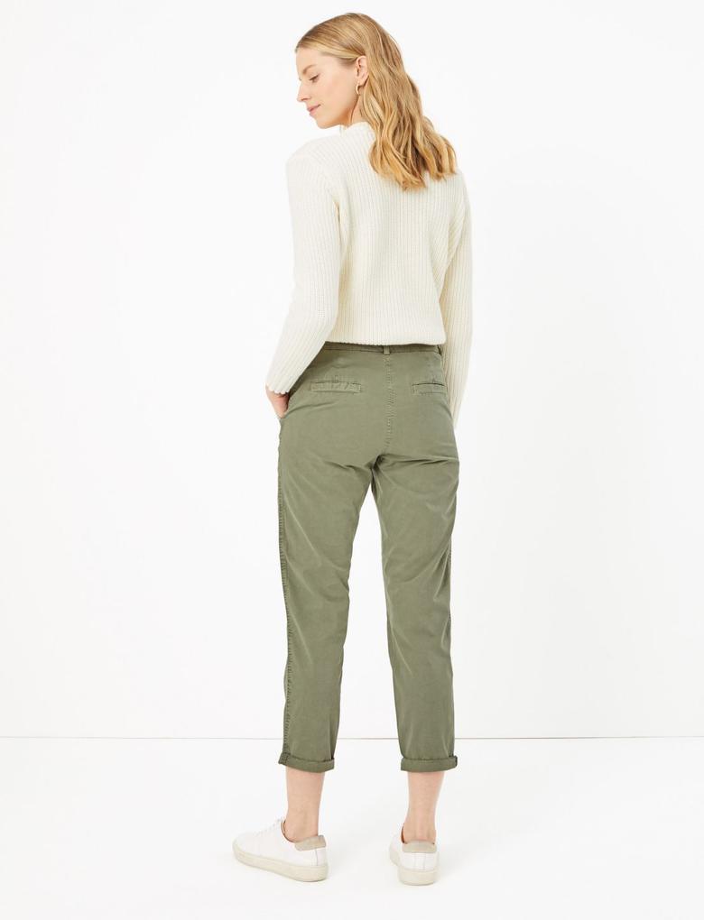 Kadın Yeşil Saf Pamuklu Tapered Chino Pantolon