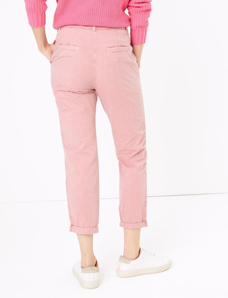 Kadın Pembe Saf Pamuklu Tapered Chino Pantolon