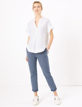 Kadın Mavi Çizgili Tapered Fit Chino Pantolon