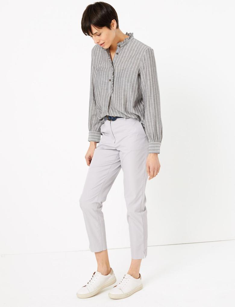 Kadın Gri Pamuklu Straight Leg Chino Pantolon