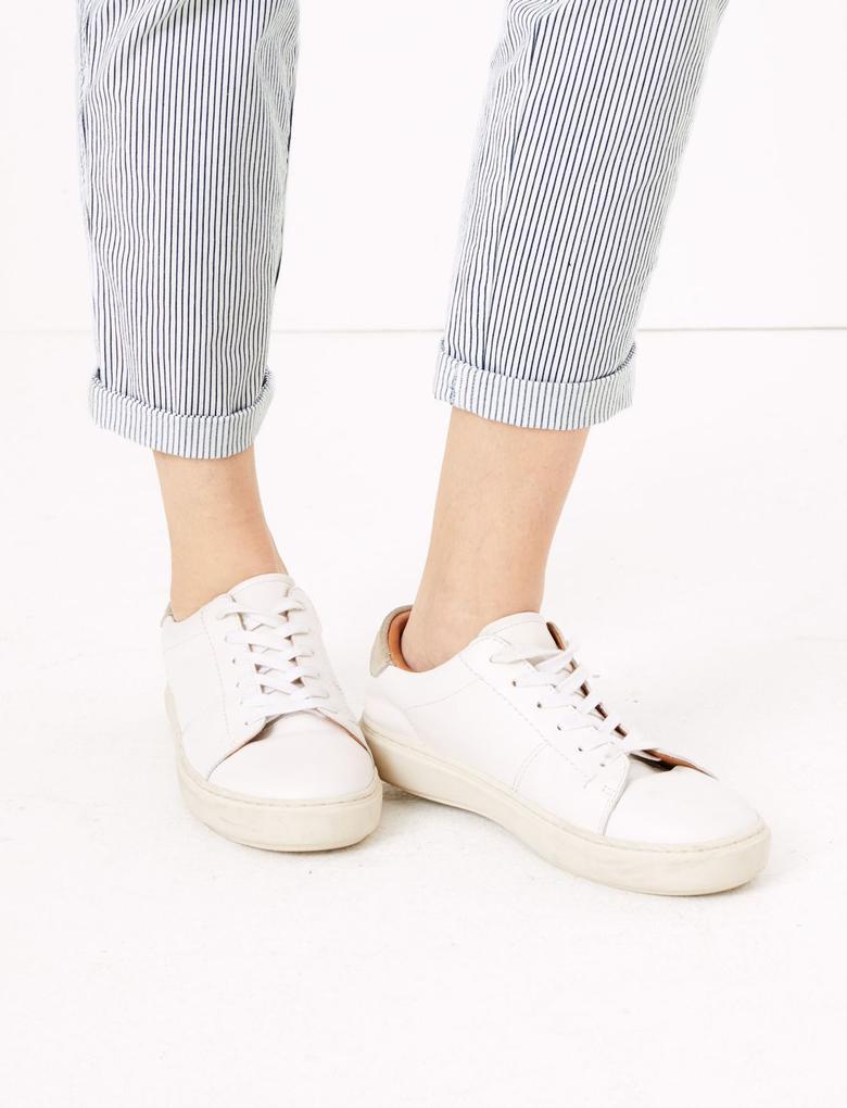 Kadın Beyaz Çizgili Tapered Fit Chino Pantolon