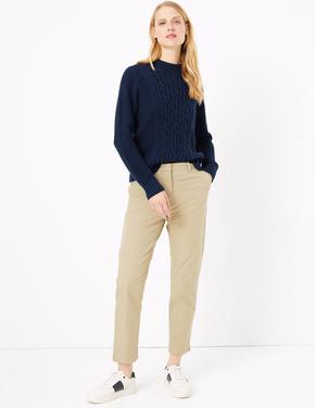 Kadın Kahverengi Pamuklu Straight Leg Chino Pantolon