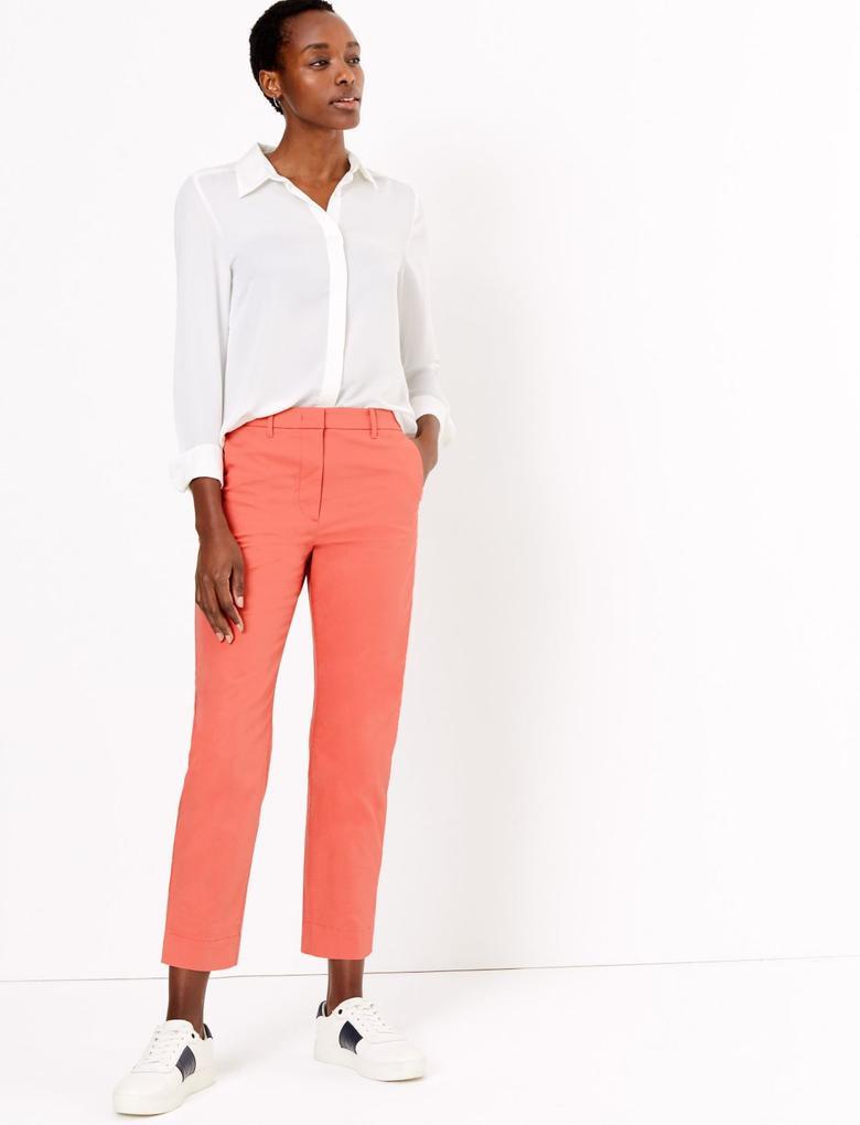 Kadın Turuncu Straight Leg Chino Pantolon