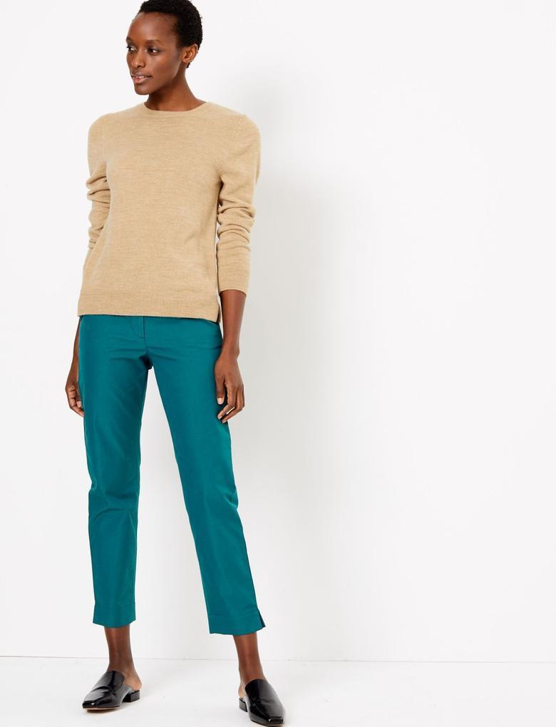 Kadın Mavi Straight Leg Chino Pantolon