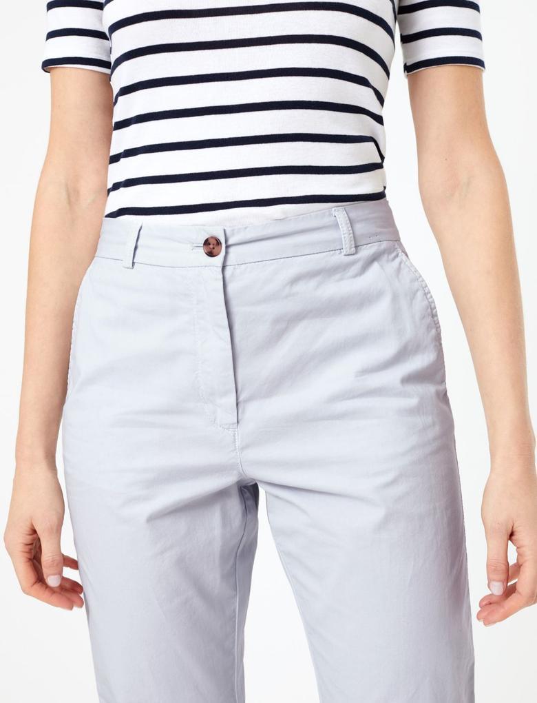 Kadın Mavi Saf Pamuklu Tapered Fit Pantolon