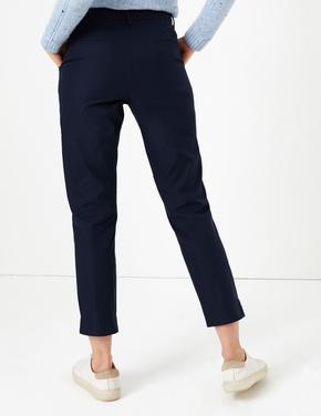 Kadın Lacivert Straight Leg Chino Pantolon