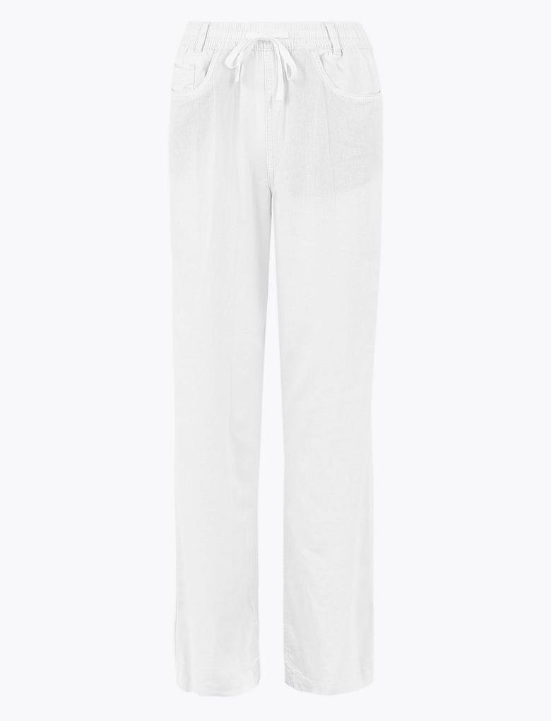 Kadın Beyaz Keten Wide Leg Pantolon