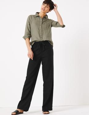 Kadın Siyah Keten Wide Leg Pantolon