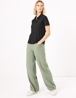 Kadın Yeşil Keten Wide Leg Pantolon