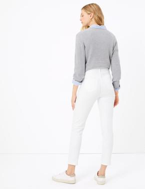 Kadın Beyaz Harper Cigarette Jean Pantolon