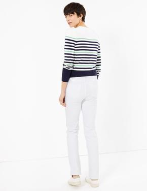Beyaz Orta Belli Straight Leg Jean Pantolon