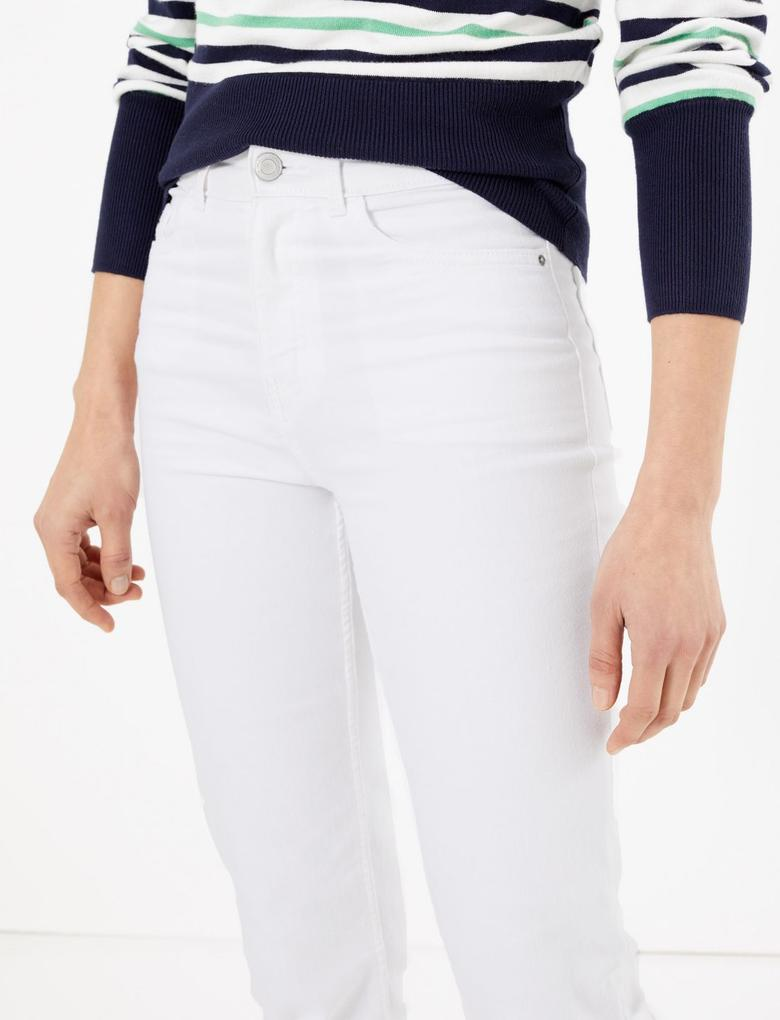 Kadın Beyaz Orta Belli Straight Leg Jean Pantolon