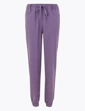 Kadın Mor Keten Ankle Grazer Pantolon