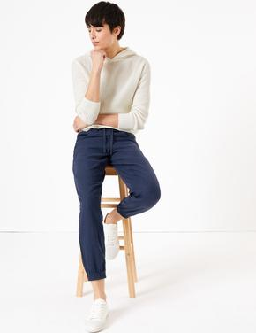 Kadın Lacivert Keten Ankle Grazer Pantolon