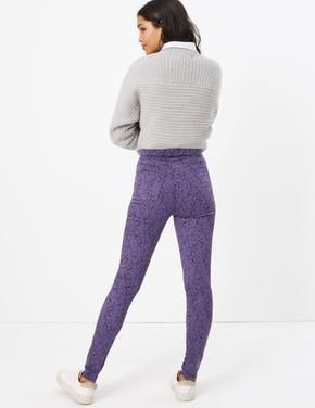 Kadın Mavi Desenli Yüksek Belli Jegging Pantolon