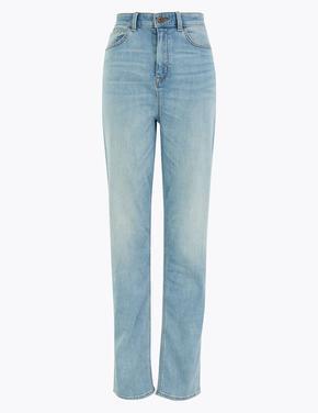Mavi Yüksek Belli Straight Leg Jean Pantolon