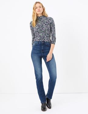 Kadın Lacivert Yüksek Belli Straight Leg Jean Pantolon