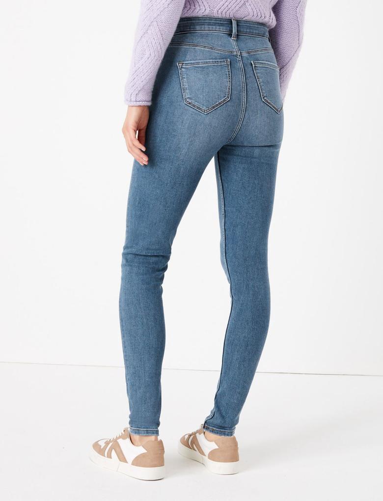 Kadın Mavi Yüksek Belli Skinny Jean Pantolon