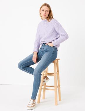 Mavi Yüksek Belli Skinny Jean Pantolon